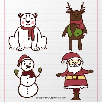 Weihnachtsmann und packtiere von hand gezeichnet
