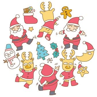 Weihnachtsmann- und renabbildung