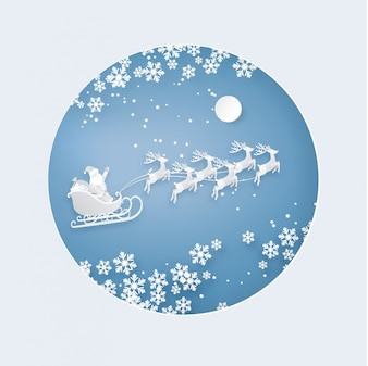 Weihnachtsmann und Rentier am Himmel