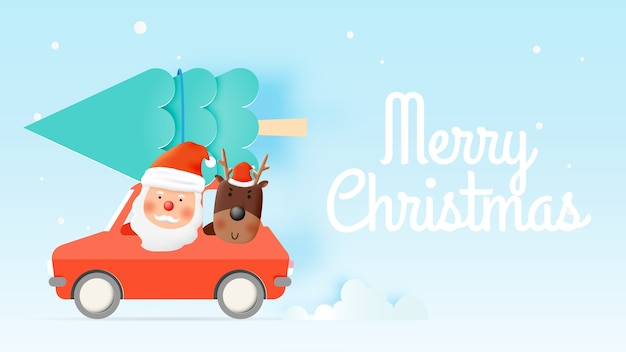 Weihnachtsmann und rentier fahren ein auto im papierkunstdesign