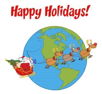 Weihnachtsmann und Rentier fliegen über die Erde