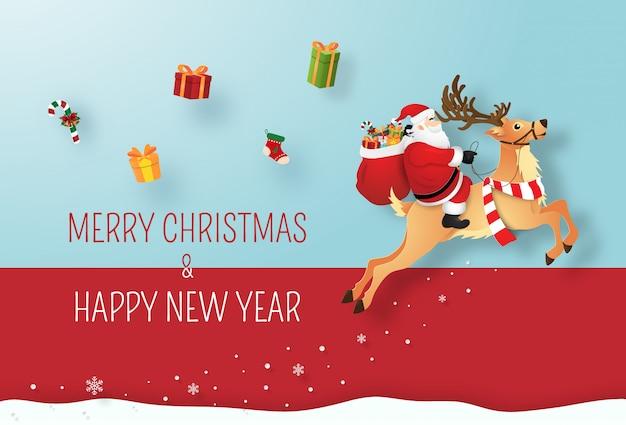 Weihnachtsmann und rentier geben geschenke