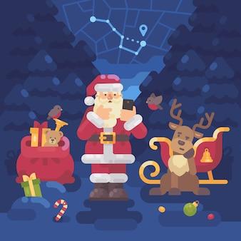 Weihnachtsmann und rentier haben sich im wald verirrt