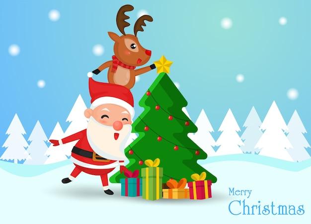 Weihnachtsmann und rentier hilf mit den sternen den weihnachtsbaum zu schmücken
