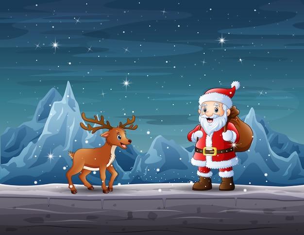 Weihnachtsmann und rentier in der weihnachtsnacht