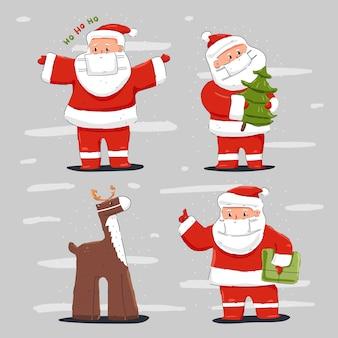 Weihnachtsmann und rentier in medizinischen masken-zeichentrickfiguren eingestellt