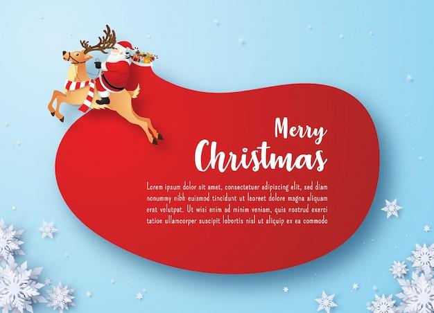 Weihnachtsmann und rentier mit riesigen roten geschenktüte auf blau