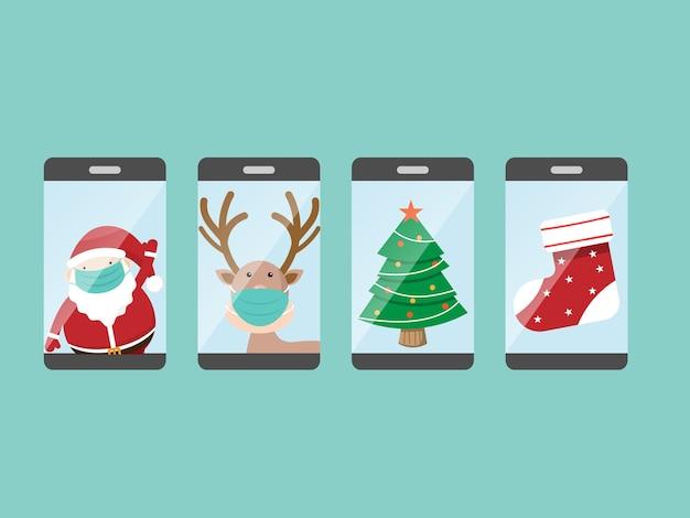 Weihnachtsmann und rentier mit weihnachtsfigur auf mobilem cartoon