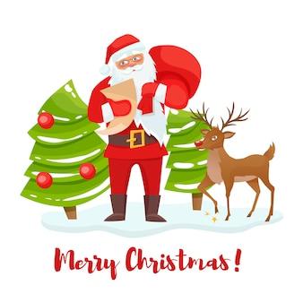 Weihnachtsmann und rentier weihnachtsbaum.