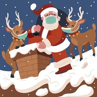 Weihnachtsmann und rentiere mit medizinischen masken