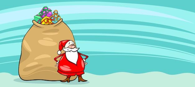 weihnachtsmann mit weißen karte  kostenlose vektor