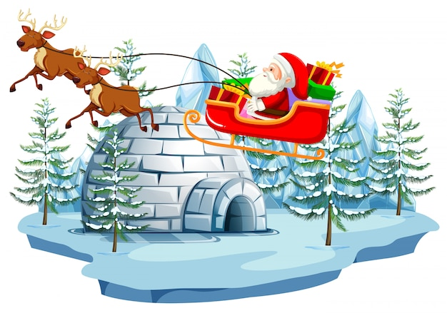 Weihnachtsmann und schlitten mit iglu