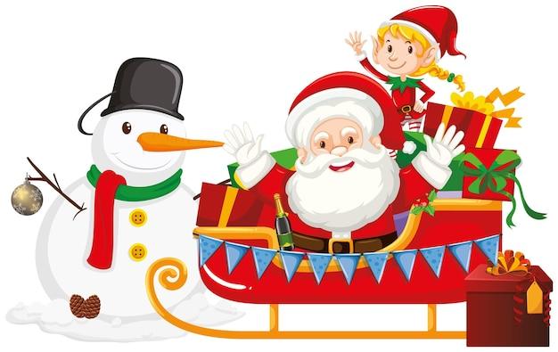 Weihnachtsmann und schneemann auf schlitten