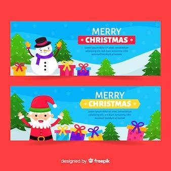 Weihnachtsmann und schneemann banner