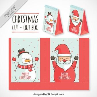 Weihnachtsmann und schneemann-box ausgeschnitten