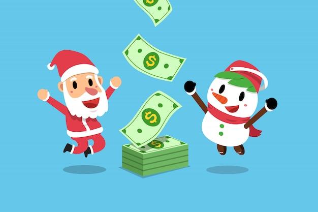 Weihnachtsmann und schneemann, die geld verdienen