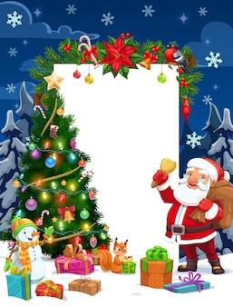 Weihnachtsmann und schneemann mit weihnachtsgeschenken