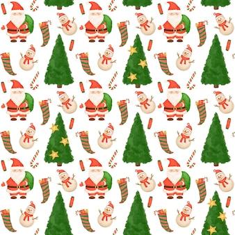 Weihnachtsmann und schneemann nahtloses muster weihnachten