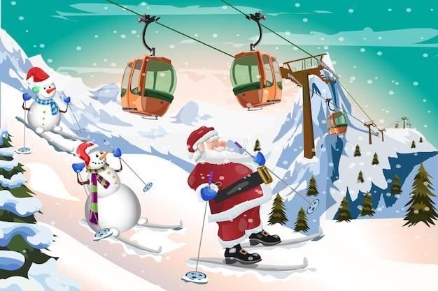 Weihnachtsmann und schneemann skifahren mit gondelbahn winterzeit hintergrund vektor-design