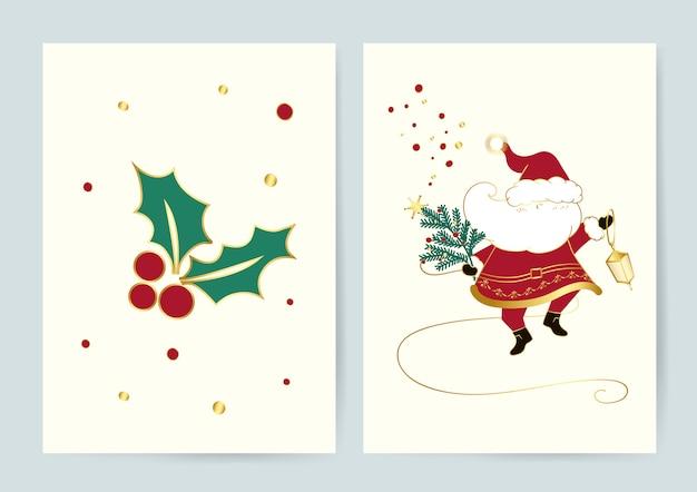 Weihnachtsmann und stechpalme verlässt weihnachtskartenvektor