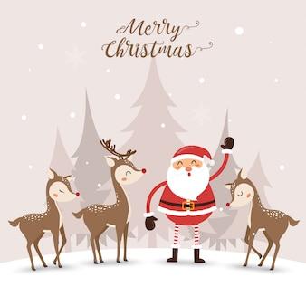 Weihnachtsmann und süße hirsche im winter.