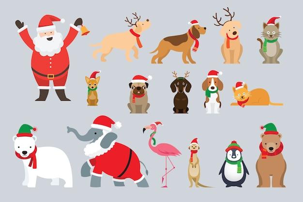 Weihnachtsmann und tiere im weihnachtskostüm