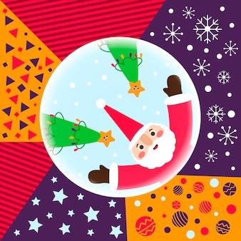 Weihnachtsmann und weihnachtsbäume mit mustern