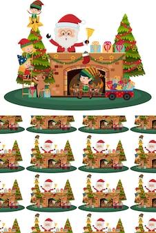 Weihnachtsmann und weihnachtsbaum