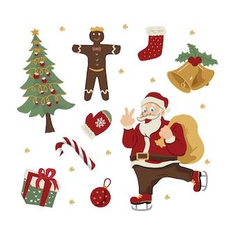 Weihnachtsmann- und weihnachtselementhand gezeichnet