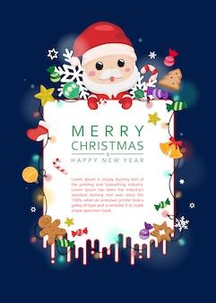 Weihnachtsmann und weihnachtsverzierungkarte