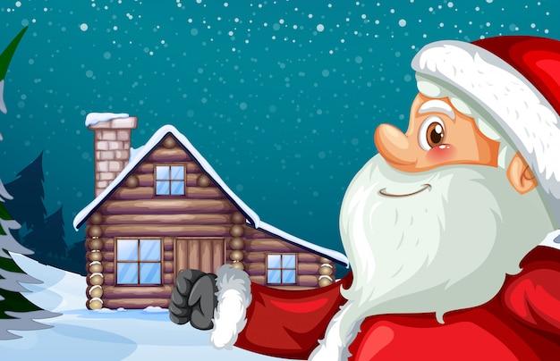 Weihnachtsmann und winterhütte hintergrund