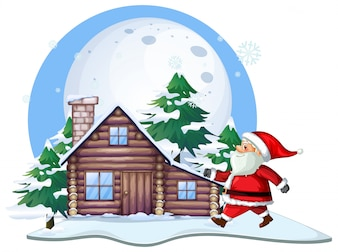 Weihnachtsmann vor Hüttenhaus