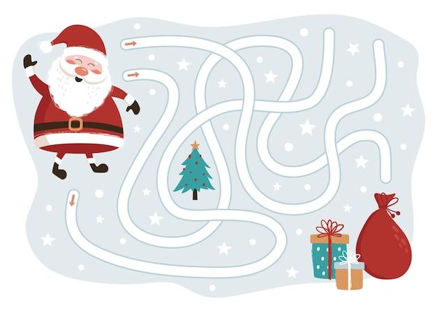 Weihnachtsmann weg zum geschenkspiel für kinder