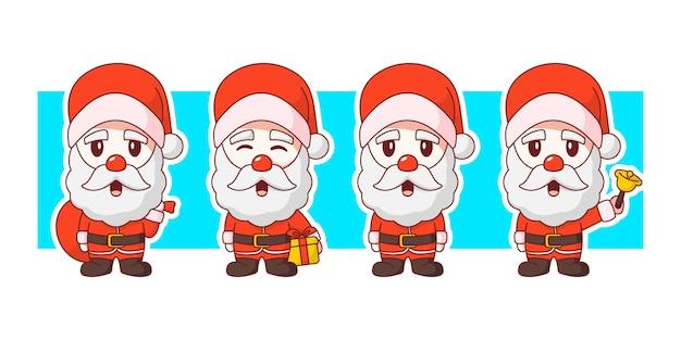 Weihnachtsmann weihnachten geben geschenke charakter illustration set.
