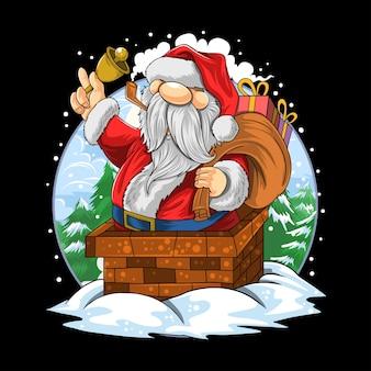 Weihnachtsmann weihnachten ging in den schornstein des hauses Premium Vektoren