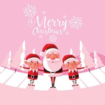 Weihnachtsmann-weihnachten mit helfern im snowscape