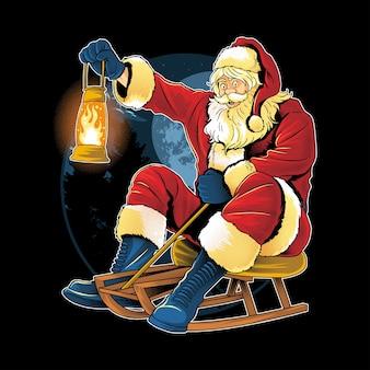 Weihnachtsmann weihnachtslauf schlittschuh auf dem schnee mit einer feuerlampe