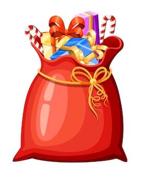 Weihnachtsmann-weihnachtsmann-tasche mit verschiedenen geschenken und geschenken auf weißem hintergrund. vorlage in eps10.