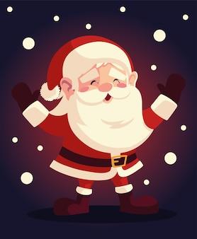Weihnachtsmann-weihnachtsmanncharakter mit schnee auf dunkler hintergrundillustration