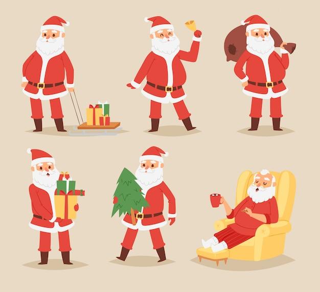 Weihnachtsmann-weihnachtsmanncharakter stellt illustrationsweihnachtsmann im roten traditionellen kostüm und in der weihnachtsmannmütze auf