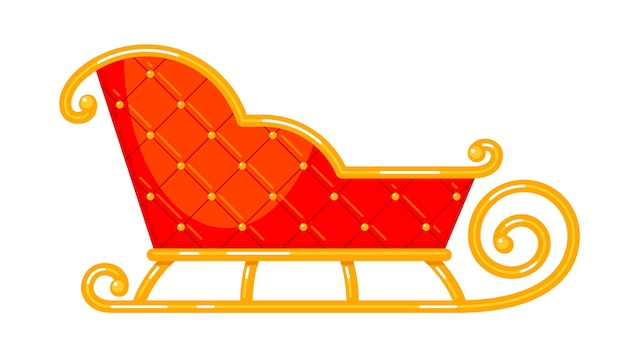 Weihnachtsmann-weihnachtsschlitten vector bunte isolierte illustration des roten leeren vintage-winterwagens