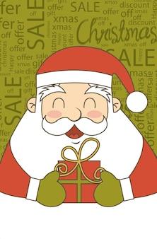 Weihnachtsmann-weihnachtsverkaufs-weinleseart-vektorillustration