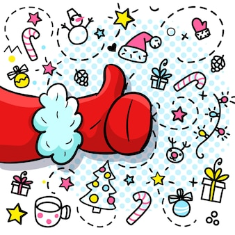 Weihnachtsmann wie im pop-art-stil. melden sie sich wie im roten fäustling an. vektor-illustration.