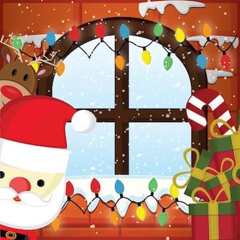 Weihnachtsmann wünscht frohe weihnachten im wohnzimmer schnee kommt durch die fenster