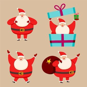 Weihnachtsmann-zeichensammlung im flachen design