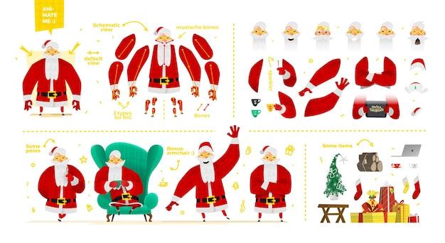 Weihnachtsmann-zeichensatz für animation und motion design