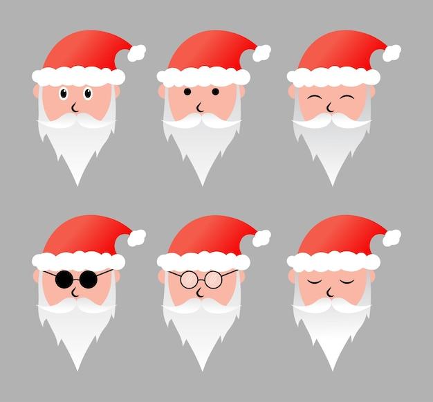 Weihnachtsmann-zeichensatz zur ergänzung der weihnachtselemente