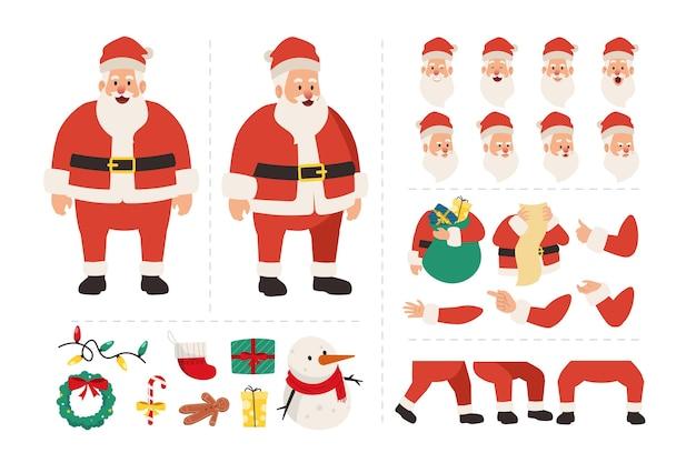 Weihnachtsmann-zeichentrickfigur für animation mit verschiedenen gesichtsausdrücken handgesten körper- und beinbewegungsillustration