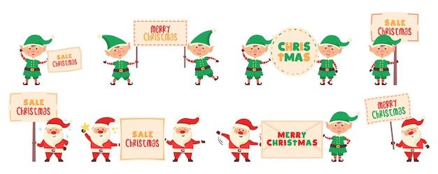 Weihnachtsmann-zeichentrickfigur mit banner.