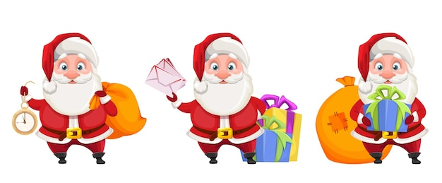 Weihnachtsmann-zeichentrickfigur, satz von drei posen